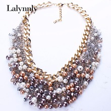 New Fashion Jewelry  Gold Color Colorful Imitation Pearl Multilayer Crystal Chain Vintage Necklace Women Accessories N25871