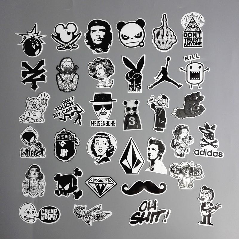 60pcs/Lot Cool Cartoon Stickers Black And White For Luggage Suitcase  Skateboard Motor Car Pegatinas Adesivi Waterproof Stickers