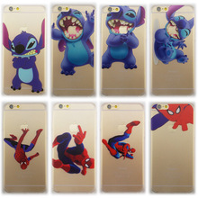 Cute Cartoon Stitch Mickey Spiderman Pattern Simpson Clear I6 Hard case for iphone 6 6s 4.7inch Funda Coque Capa Free Shipping.