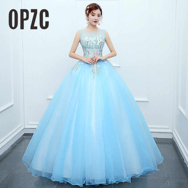 OPZC 2018 New Arrival Long Evening Dress Sleeveless O-Neck Lace Appliques  Flower Illusion Gown 4f646b7494e1