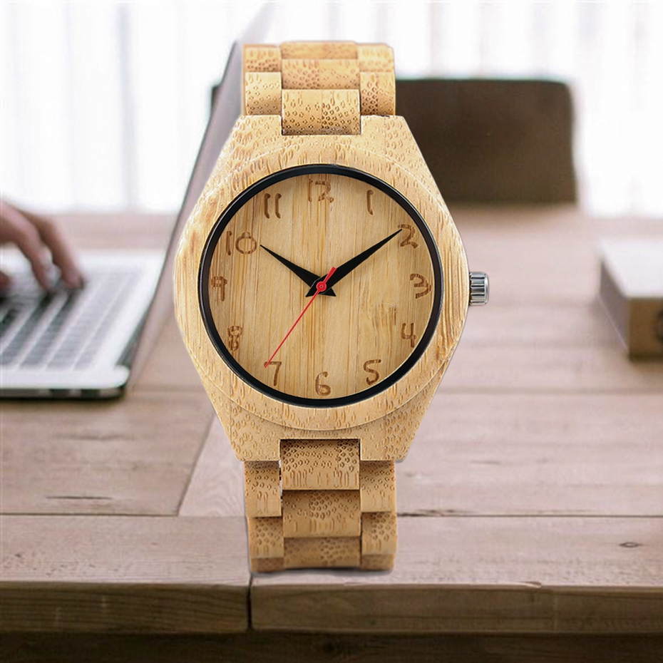 Bamboo Male Watch Handmade Engraving Numbers Dial Natural Wooden Wristwatch 100% Full Wood Bangle Men\'s Sport Quartz Clock Hours 2017 Gifts (7)