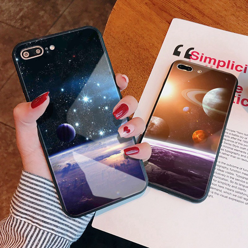 TOMKAS Luxury Space Cover Case for iPhone X Xs Max Xr Xs Glass Silicone Phone Case for iPhone 7 8 Plus Cases for iPhone 6 S 6s (22)