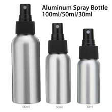 1pcs 30ml 50ml 100ml Aluminium Spray Atomiser Bottle Refillable Empty Bottles Black Pump Atomizer For Cosmetic Packaging Tool(China)