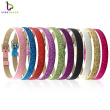 "100PCS 8MM PU Leather Glint DIY Wristband Bracelets "" Can Choose the Color"" Fit Slide Letter LSBR05*100(China)"