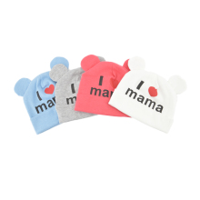 2017 Baby Boys and Girls Hat Newborn Baby Cotton Skullies Love mama print Caps Hats For Baby Girls Knitted Beanies Cap TTM-003(China)