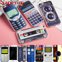 Napeyin Phone Cases for iPhone 6 6s Plus 5 5S SE Vintage Tape Cover Soft Silicon Calculator Cassette Camera Fashionable Coque