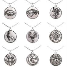 HSIC JEWELRY Vintage Retro Song of Ice and Fire Game of throne  Family Pendant Necklace Crest Pendant Jewelry Souvenirs HC1124