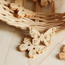 50pcs/Lot Craft Scrapbooking Producs 2 Holes Mixed Butterfly Wooden Buttons Clothing Accessories