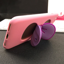 "2016 Women Girls Popular Soft Bowknot Silicone Case for iPhone 6 6s 4.7""  5 5s Plus 5.5""  Phone Back Cover"