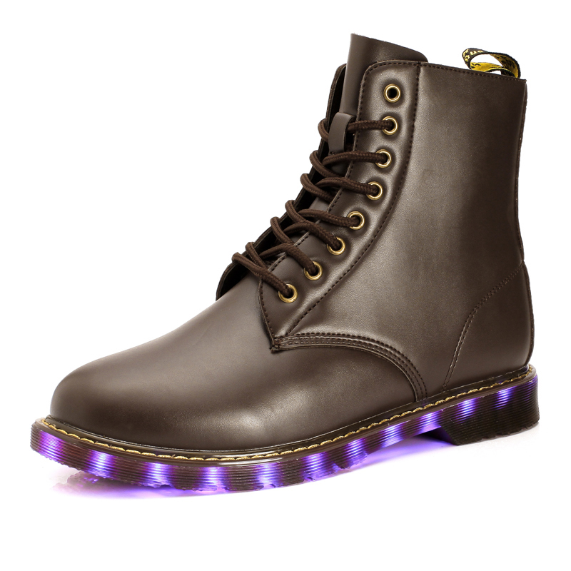 STRONGSHEN 2017 New children shoes fashion casual LED light up emitting high-top shoes girl USB charging warm kids shoes  <br>
