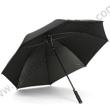 135cm diameter 4 persons Anti UV five times black coating fiberglass auto open business anti-thunder golf outdoor sport umbrella