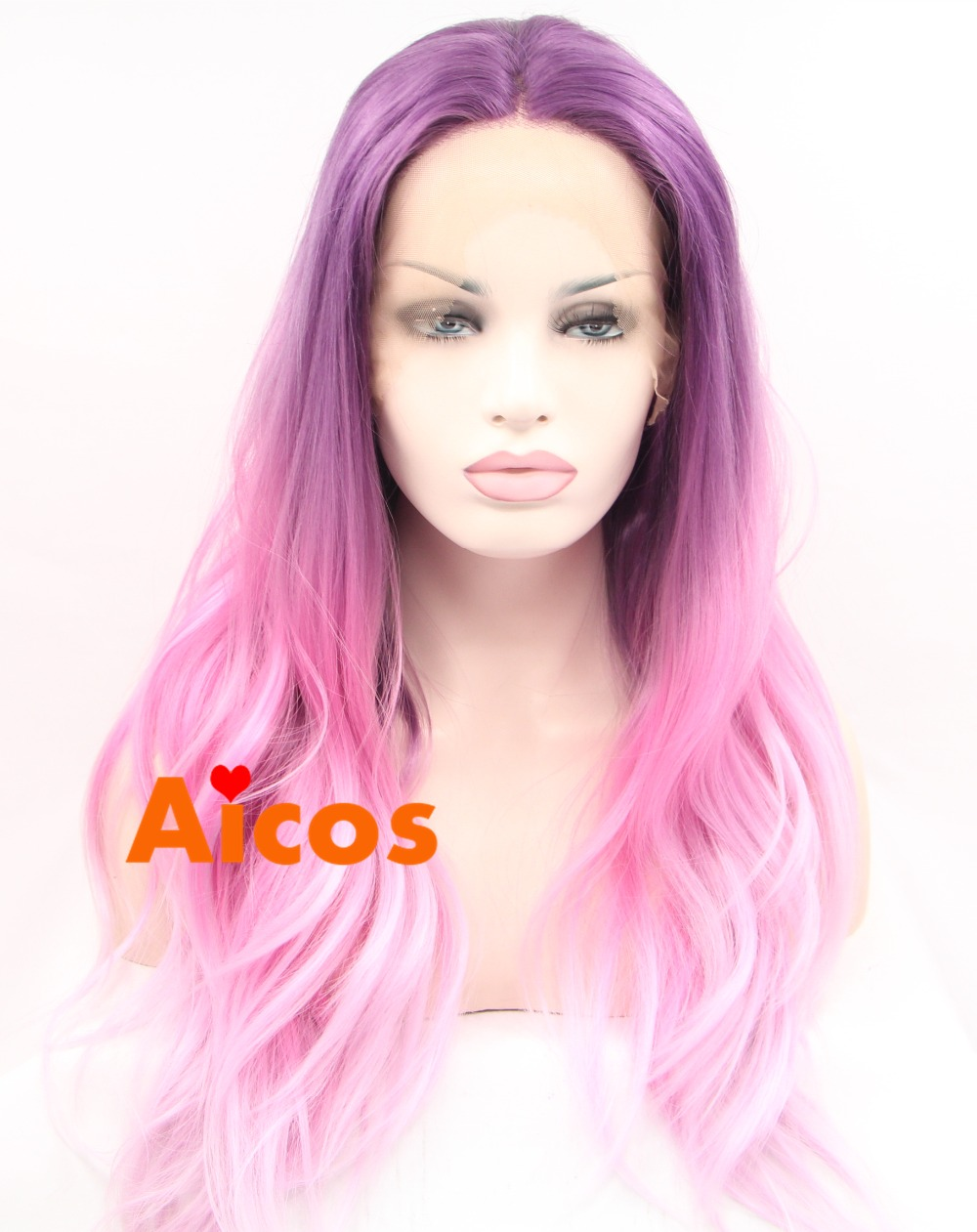 Mix Color Pink Purple Ombre Lace Front Wig Handmade Body Wave Glueless Heat Synthetic Fiber Wavy Hair Long Womens Wigs<br><br>Aliexpress
