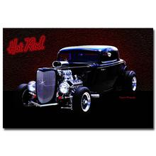 NICOLESHENTING Hot Rod Muscle Car Art Silk Fabric Poster Print Classic Car Pictures For Living Room Decor 022