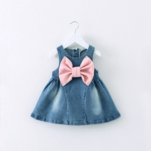 Big bow Cute Baby Girl Jeans Dress Baby Denim Dresses One Piece Baby Summer Clothing For children Casual Wear Girl Clothes B