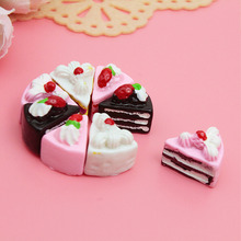 10PCS Kawaii Flat Back DIY Artificial Cake Artificial fruit model multicolour cake fake fruit bread cake food Doll House Toy