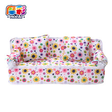 mocai 2017 Mini Doll house Flower Soft Sofa Couch With 2 Cushions  accessories furniture for the babie furniture dolls girl toys