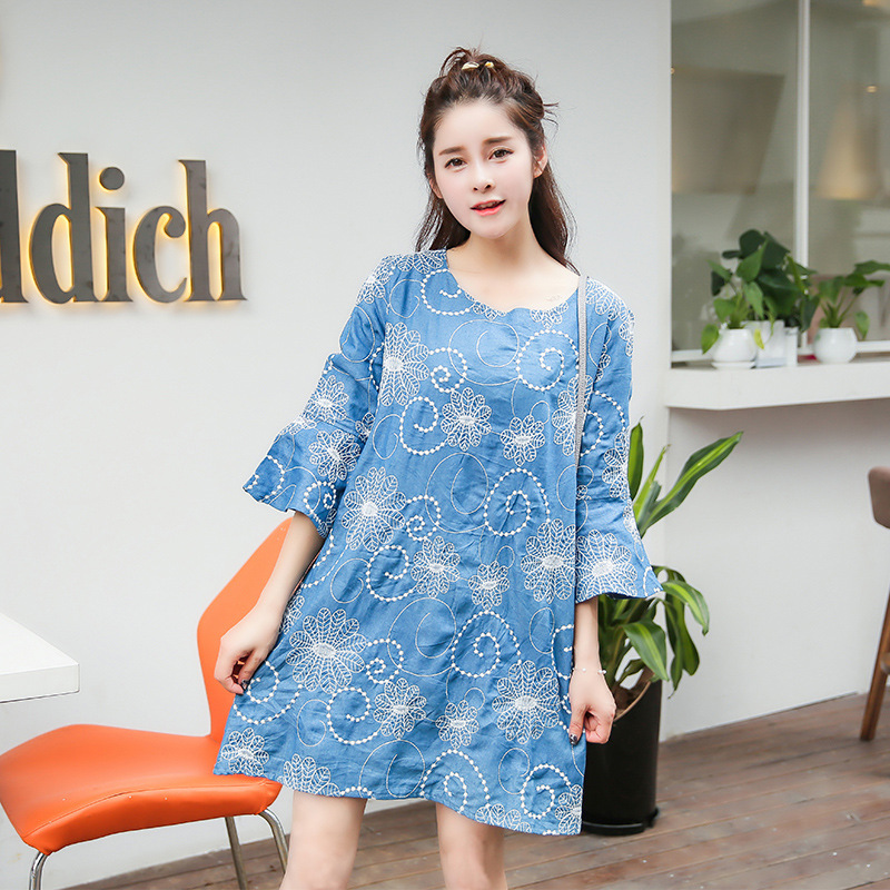 Womens Spring Autumn Blouses Ladies Summer Shirts Denim Loose Maternity Dress Fashion Pregnant Women Clothes Embroidery Blue<br><br>Aliexpress