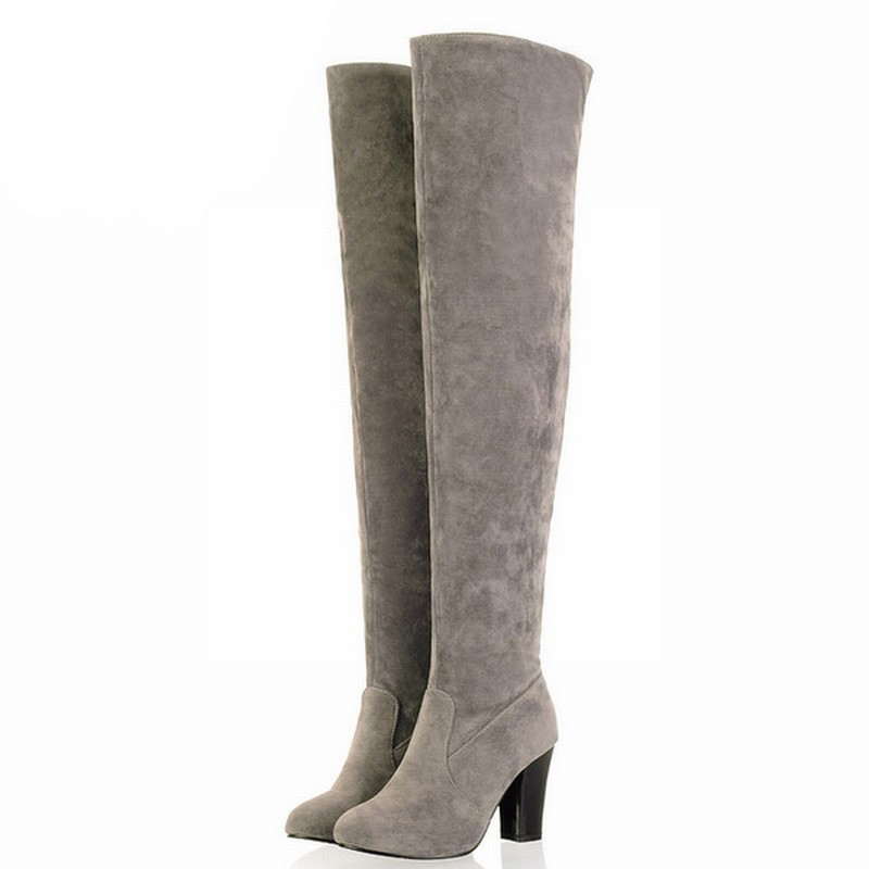 2017 Newest Round Toe Sexy Over the Knee High Boots Ladys Med Heels Autumn Winter Boots Fashion Women Shoes Big size 34-43<br><br>Aliexpress