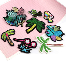 New Embroidery Coconut tree,Mushroom,Cactus Patches Mulity Iron On Patches Punk Motif Applique DIY Clothes Accessory Stickers