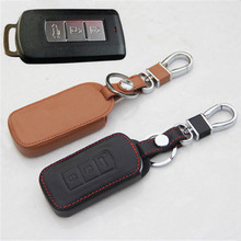 Car Genuine Leather Bag Remote Control Car Keychain Key Cover Case For Mitsubishi Outlander Pajero ASX 3Buttons Smart Key  L241
