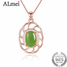 Almei 5ct Light Green Jasper Big Leaf Pendant & Necklace 925 Sterling Silver Women Vintage Jewelry Natural Stone Free Box FN074(China)