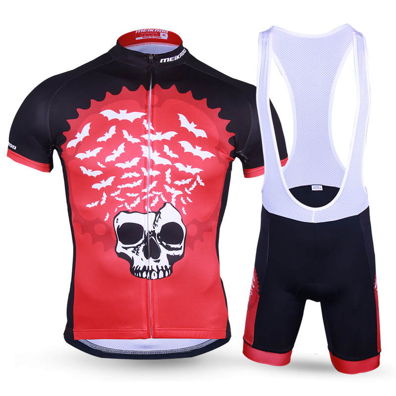 2017 Mens Bat King Skull Pattern Short Sleeve Cycling Set Breathable MTB Bike/Bicycle Jersey Set Cycling Clothing Ropa Ciclismo<br><br>Aliexpress