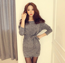 Fashion women's clothing Foreign Trade Autumn Woman New Pattern Fashion Slimming Bat Sleeve Dress #1353(China)