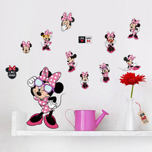 Self-adhesive removable baby bedroom decor 3d carton minnie mouse stickers home decor wall art decals