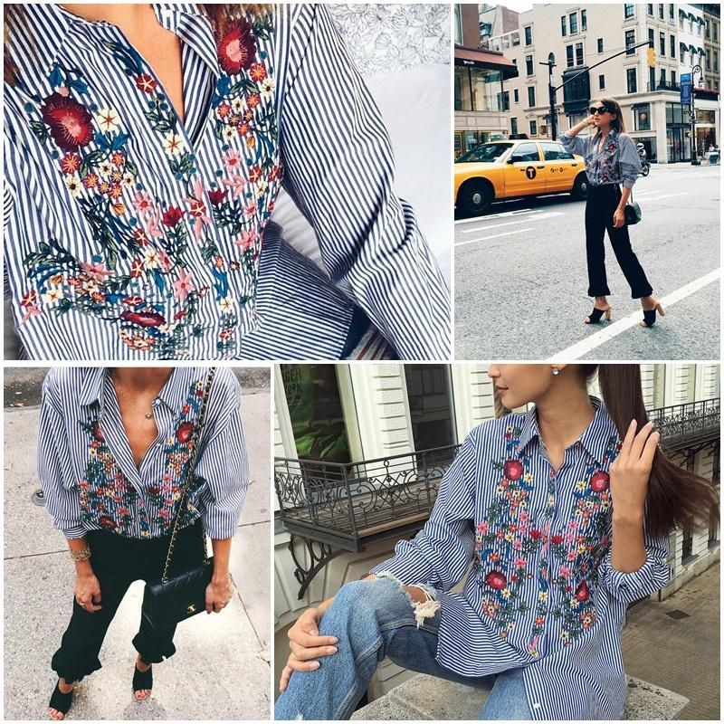 Women Floral Embroidered Casual Blouse Autumn Long Sleeve Striped Shirt Floral Tops Fashion (Us 10-16W)