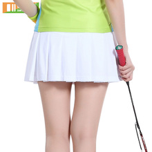 Summer Girl Pleated Dress Solid Color Tennis Skirt Women Skort Short Sports Skirt Badminton Sports Clothing 3012(China)