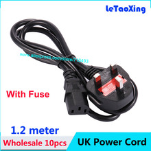 10pcs PC Desktop Monitor Computer UK Plug AC Power Extension Cord Cable With Fuse 1.2m 4FT Wholesale DHL Free shipping