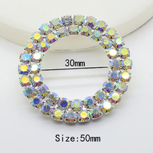 50MM 100Pc Round rhinestone Buckles AB olorful Buttons 2017 Invited Wedding Ribbon Slider DIY Hair Accessories decoration buckle(China)