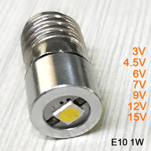 Newest 1W E10 3V 4.5V 6V 7V 9V 12V 15V LED Flashlight Torch Replacement Bulbs with Epistar Chips positive and negative polarity