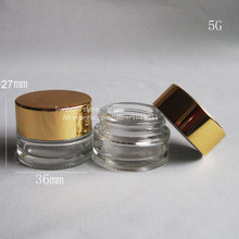 500 X 5g small glass jars with gold lid, mini cream jar, sample skin care products containers, 5ml glass pots(China)