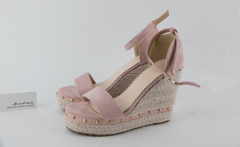 Women's Sandals, Platform Sandals, High Heels Shoes, Ankle Strap, Ladies Sandals Rivet Casual Footwear 17