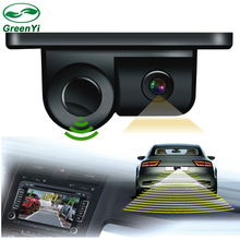 Free Shipping, Sound Alarm Car CCD Rear View Camera Video Parking Sensor System, Display Distance and Image in Car Monitor