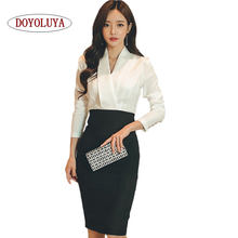 [DOYOLUYA] High Quality Ladies Autumn Office Wear Long Sleeve White Patchwork Black V Neck Woman Work Dress Business Clothes