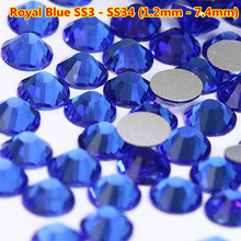 Free Shipping 1440pcs/bag ss3 ss4 ss5 ss6 ss8 Royal Blue Strass Nail Crystal Rhinestones Nail Art Decorations 3D Nail Accesories