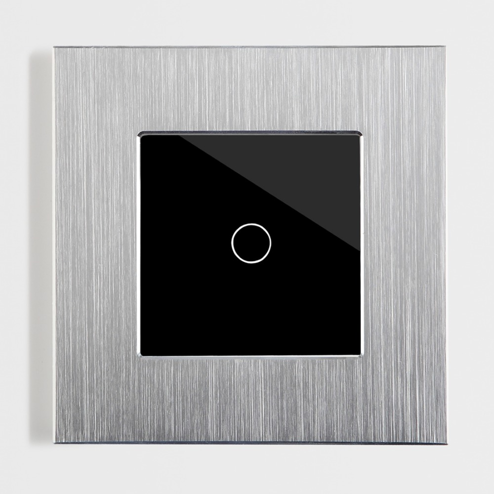 Touch Switch 1 Gang 1 Way Brushed Aluminum Touch Light Switch Wall Switch by BSEED, Silver Black <br>