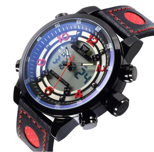 2018 AMST Brand Quartz Watch for men LED digital multi-function military sports watches leather outdoor waterproof clock 3015<br>