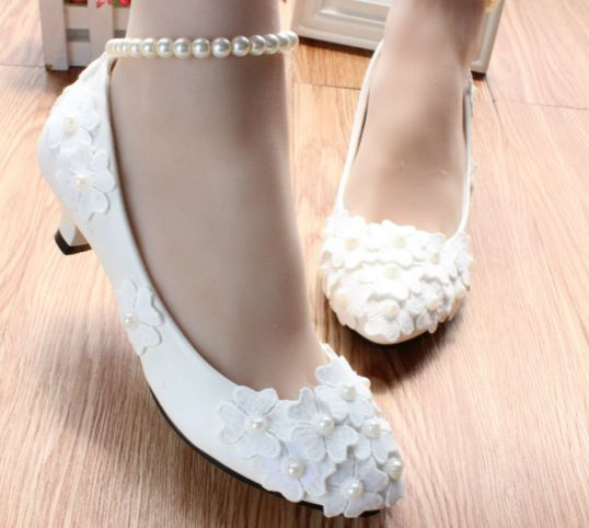 3CM Low small heel white wedding pumps shoes womens ankle pearls TG193 bracelet straps bridal bridesmaid party dance pumps<br>