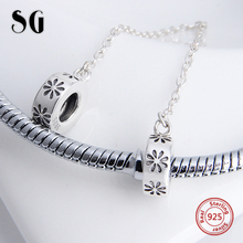 Silver Galaxy 925 Sterling Silver Flower Safety Chain Beads Fit Original Pandora Charms Bracelet Authentic Fashion Jewelry Gifts(China)