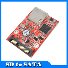 "Flash MMC SD SDHC Card To 7+15 SATA 2.5"" HDD Secure Converter Adapter for Windows DOS 98 XP 7 8 Vista Linux"