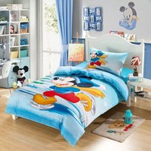 skating mickey mouse quilt comforter bedding sets single twin size duvet covers bedspread cotton fabric reactive print boys blue(China)