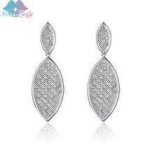 Miss Lady Rose Gold color Rhinestone Crystal african Leaf Drop / dangle Earrings Wholesales Fashion Jewelry for women MLZ4298