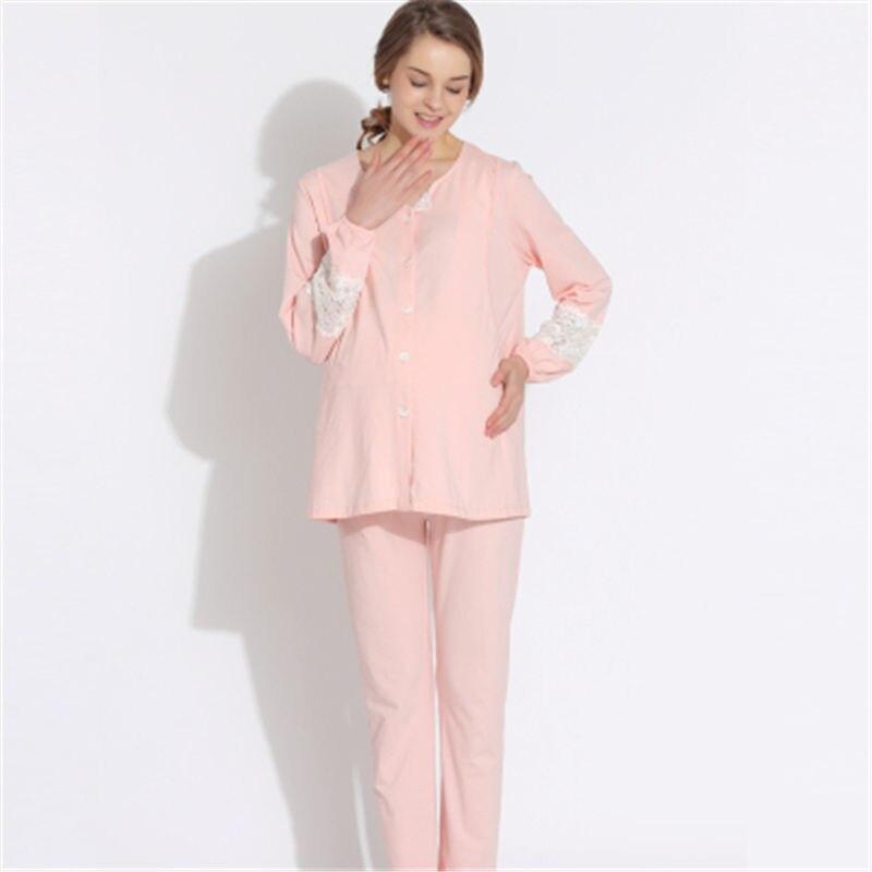Long Sleeve Summer Women Pajama Sets Pigiama Donna Allattamento Breastfeeding Nightgown Maternity Nursing Pajamas 2016 70M032<br>