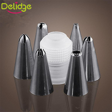 Delidge 6 pcs Nozzle + 1 Converter Cake Decoration Tip 6 Shape Flowers Piping Nozzles Cake Fondant Pastry Decoration Tool