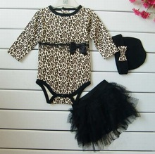 Leopard Baby Girl Clothes 3 PC Sets: Autumn Long Sleeve Cute Suit Rompers + Tutu Skirt +Headband(hat) Kids Girl Clothing(China)