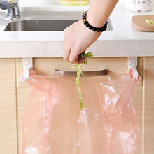 2017 Hanging Kitchen Cupboard Cabinet Door Tailgate Stand Storage Garbage Bags Hooks Rack Home Kitchen Dining (Color: White)