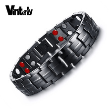 Vinterly Double Row Black Men Health Germanium Infrared Negative Ion Magnetic Bracelet Stainless Steel Bracelets For Man(China)